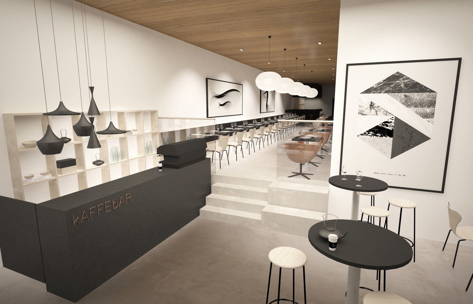 Coffee shop in the first floor. Illustration: DARK/ZINC AS