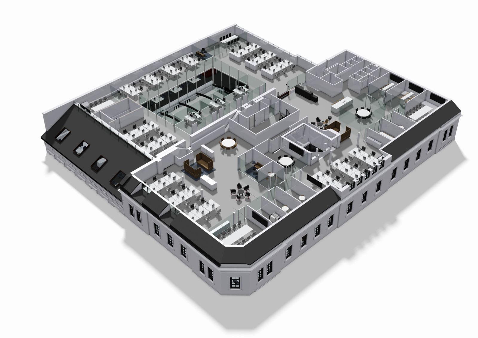 Axonometric view of the offices on the fifth floor. Illustration: Dark / Zinc AS
