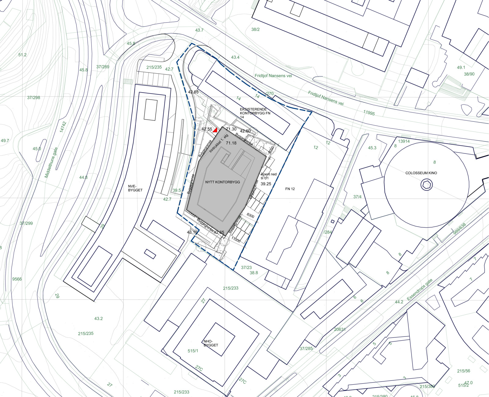 Siteplan. The new building was established in the core of a urban quarter in Majorstua, Oslo.